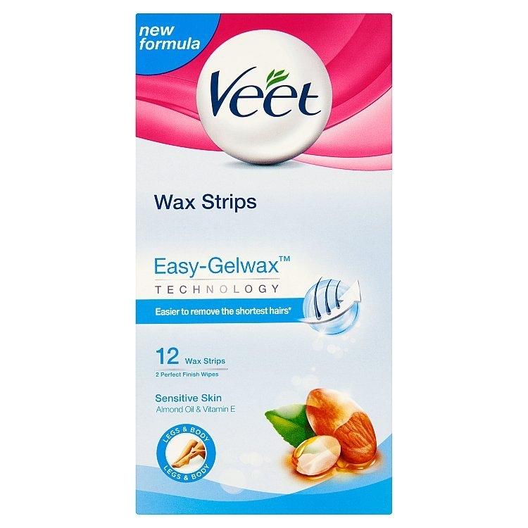 Voskové pásky s proužkem pro snadné uchopení na nohy a tělo pro citlivou pokožku 12ks