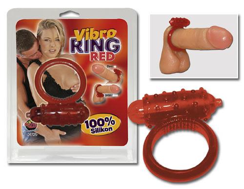 Vibrační erekční kroužek na penis - Vibro Ring Red Silikon