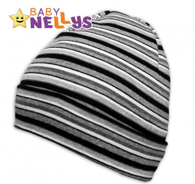 Bavlněná čepička Baby Nellys ® - Proužky bílo, šedé, černé - 42/54 čepička obvod