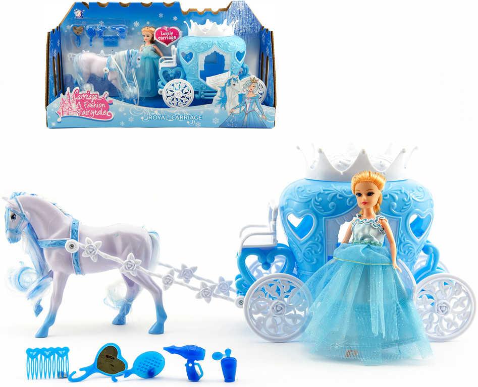 Zimní set plastový kůň s královským kočárem a panenkou princeznou v krabici