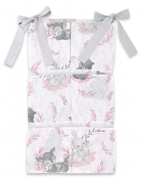 Bavlněný kapsář na postýlku Baby Nellys 6 kapes, LULU, růžová, šedá