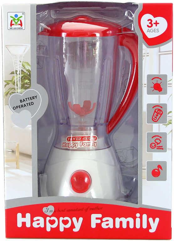 Mixér dětský funkční bílo-červený na baterie Světlo Zvuk v krabici