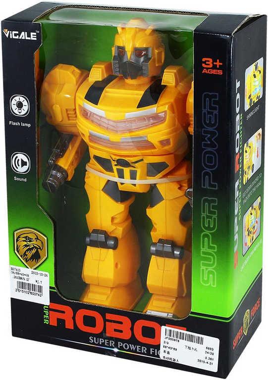 Robot funkční chodící 26cm na baterie žlutý Světlo Zvuk plast v krabici