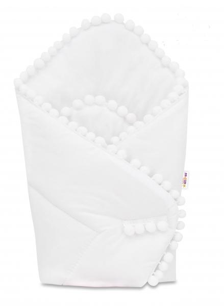 baby-nellys-novorozenecka-bavlnena-zavinovacka-s-bambulkami-75x75cm-bila