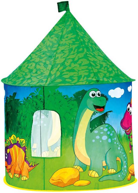 BINO Stan dětský Dinosauří hrad zelený kulatý s bočním okýnkem
