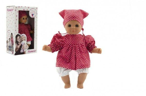 Panenka/Miminko Hamiro 30cm, látkové tělo šaty červené+ bílý puntík + šátek v krabici 20x3