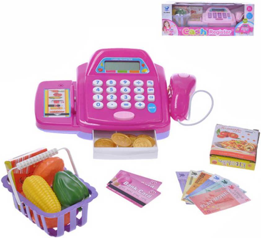 Pokladna dětská registrační set s doplňky na baterie - 2 barvy