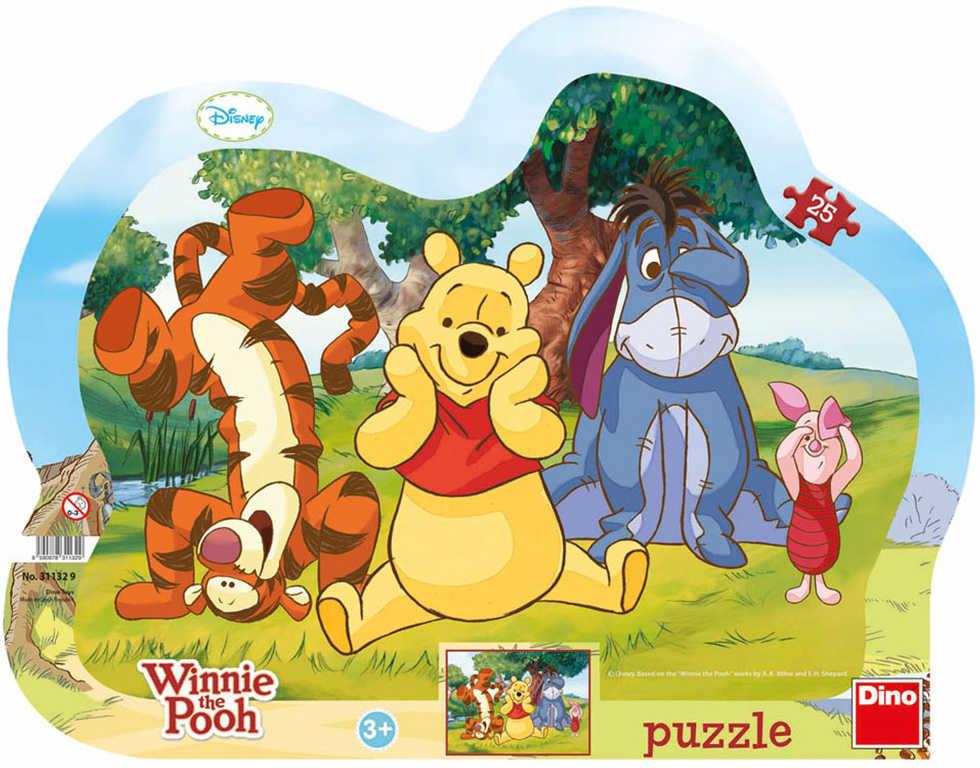 DINO Puzzle obrysové deskové 25 dílků Schovávaná s Medvídkem Pú 30x23cm