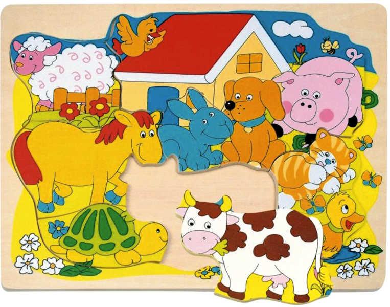 OLYMPTOY Puzzle na desce Veselá Domácí zvířátka