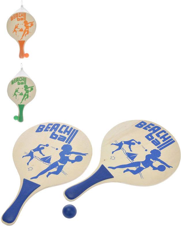 DŘEVO 2-Play set na plážový tenis 2 pálky + míček různé barvy *DŘEVĚNÉ HRAČKY*