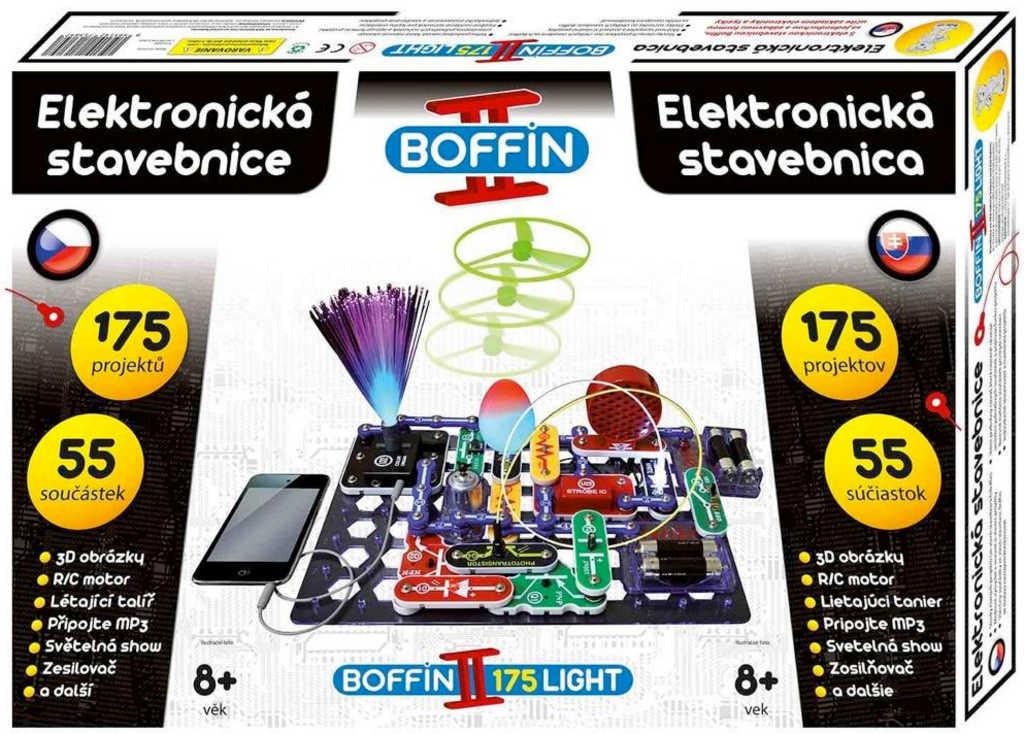 Boffin II. LIGHT 175 projektů 55 součástek na baterie elektronická STAVEBNICE
