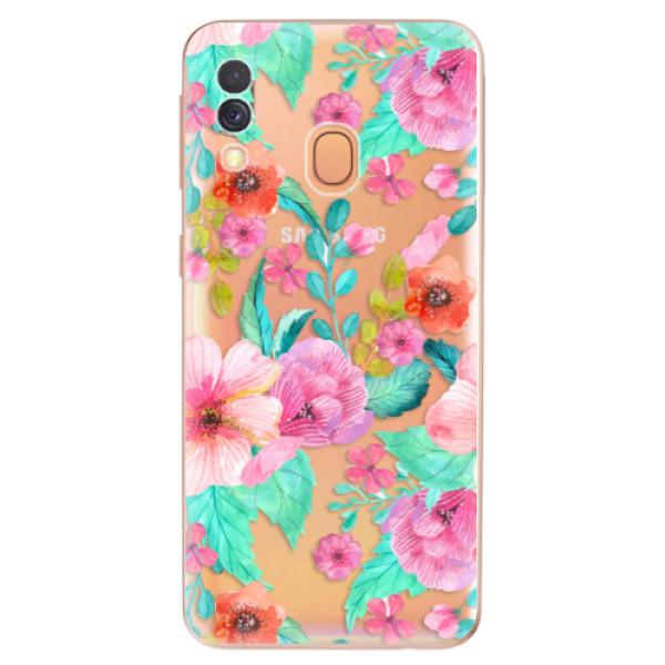 Odolné silikonové pouzdro iSaprio - Flower Pattern 01 - Samsung Galaxy A40
