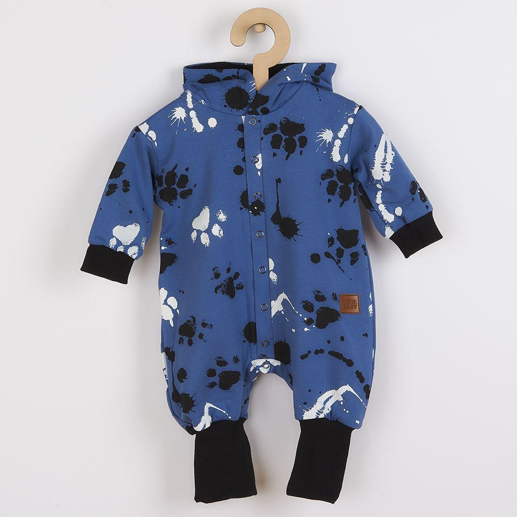 Kojenecký bavlněný overal s kapucí a oušky New Baby Paw - modrá/74 (6-9m)