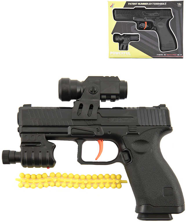 IR Pistole 17cm na vodní + plastové kuličky 6mm s laserem na baterie
