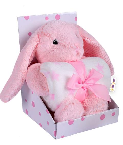 Baby Nellys Dětská sada deka + plyšová hračka Králíček - růžová