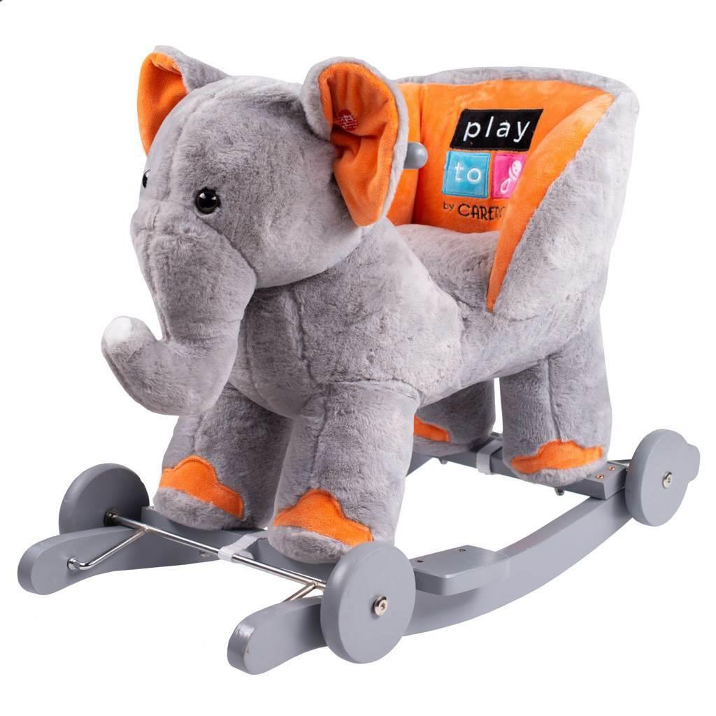 Houpací hračka s melodií a kolečky PlayTo sloník - šedá