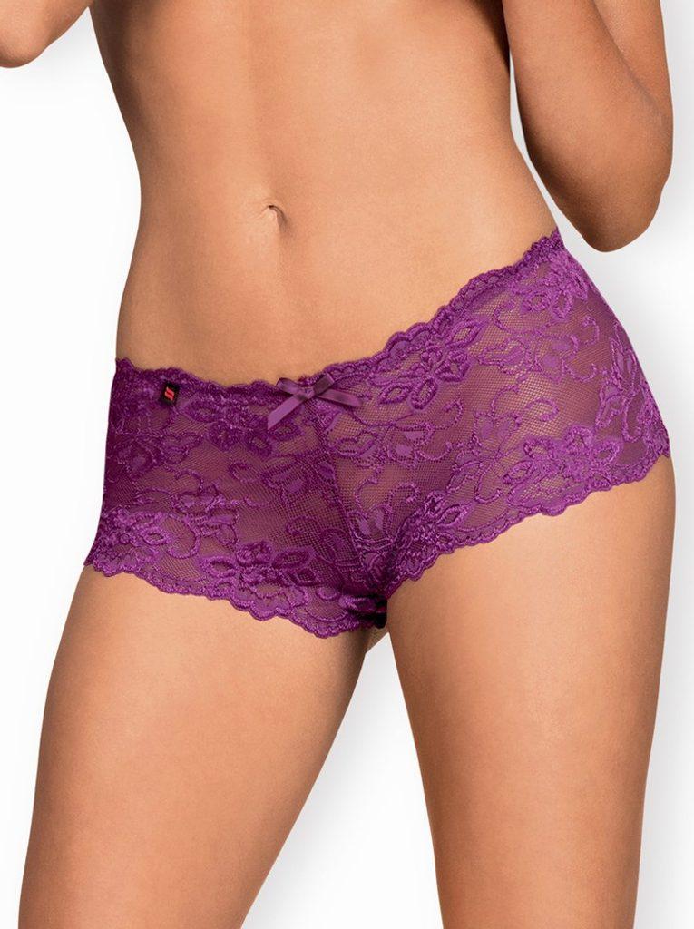 Nádherné kalhotky Obsessive Idillia shorties purple - Fialová L - XL
