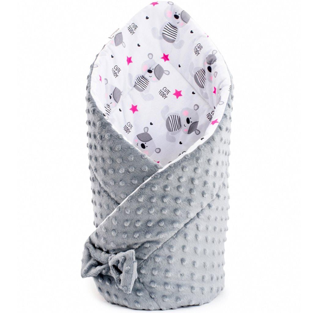 Oboustranná zavinovačka z Minky New Baby 75x75 cm teddy hvězdičky růžové - šedá