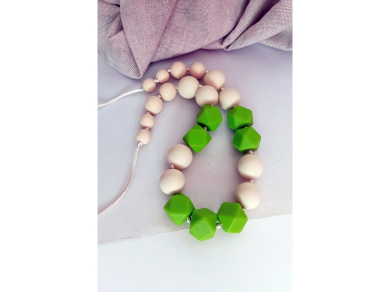 MIMIKOI - Kojící korále zelené kostičky