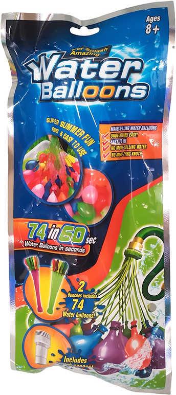 Balónky malé vodní bomby set 74ks 2 svazky barevné v sáčku