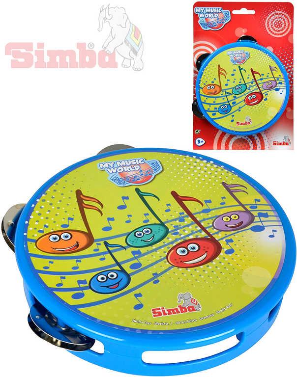 SIMBA Tamburína dětská 15 cm modrá na kartě