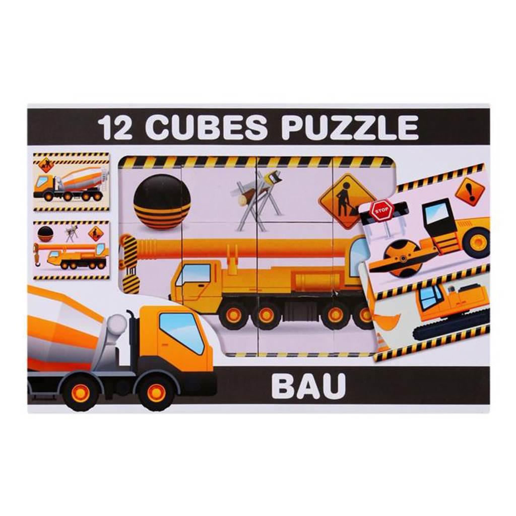 Skládací obrázkové kostky 12 ks - stavební stroje - dle obrázku