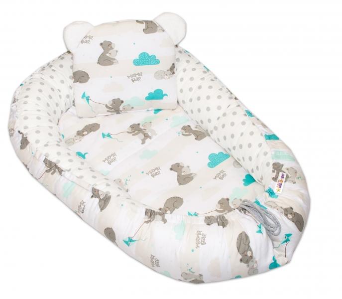 baby-nellys-oboustranne-hnizdecko-kokon-60x90cm-medvidek-velke-puntiky-matova-bila