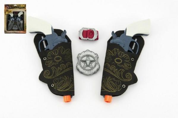 Pistole s pouzdrem 2ks kovbojská sada plast 16cm 2ks s doplňky v krabici