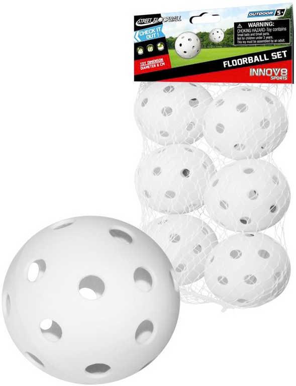Míček bílý na florbal set 6ks v sáčku