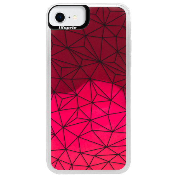 Neonové pouzdro Pink iSaprio - Abstract Triangles 03 - black - iPhone SE 2020
