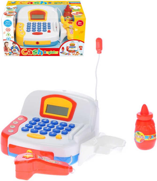 Pokladna dětská registrační na baterie set s doplňky Světlo Zvuk plast