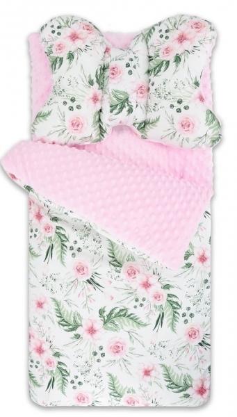 Univerzální fusák, spacáček minky s polštářkem Flowers - růžový/sv. růžový