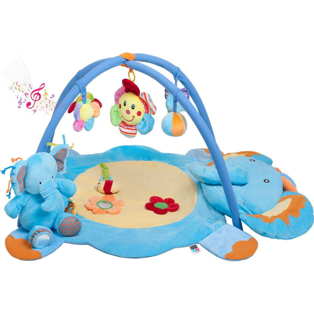 Hrací deka s melodií PlayTo slůně s hračkou - modrá