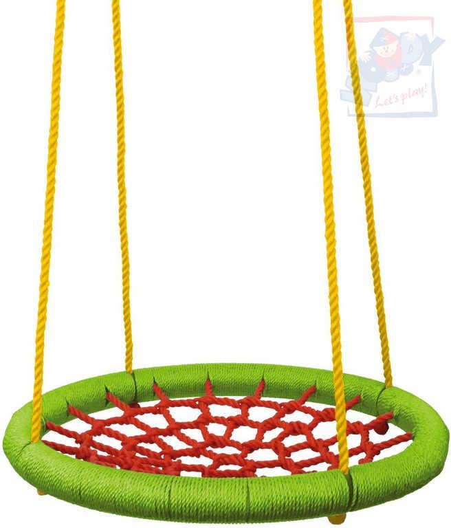 WOODY Houpačka síťovaná Kruh závěsný 83cm houpací zeleno-červený