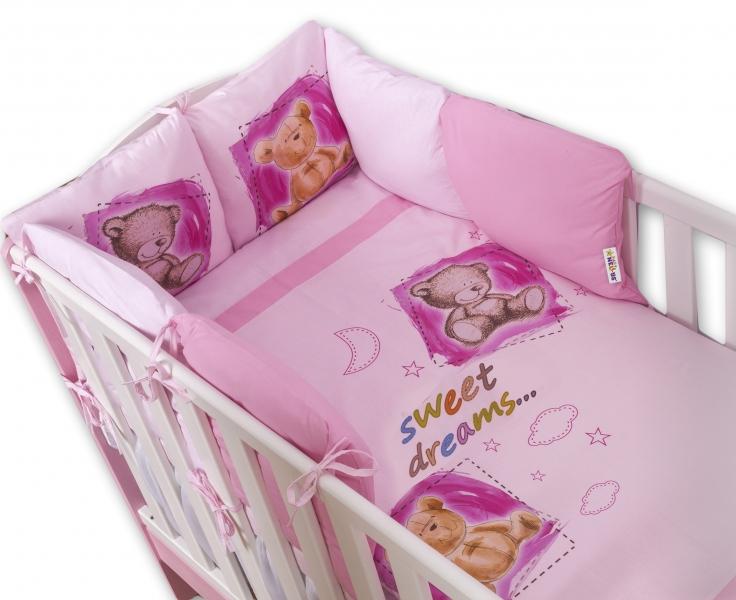 Baby Nellys Povlečení s polštářkovým mantinelem Sweet Dreams by TEDDY - růžový
