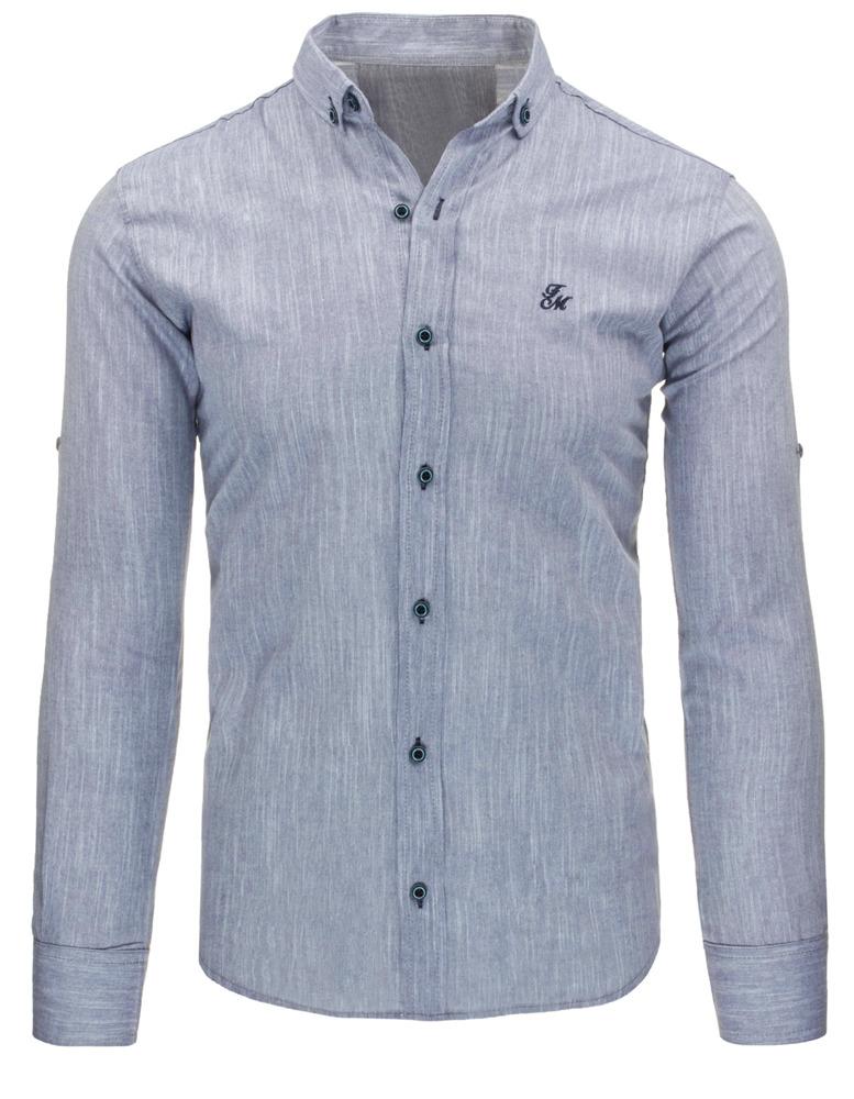 Pánská košile (dx1016) - Frank Martin - Šedá melange/XL