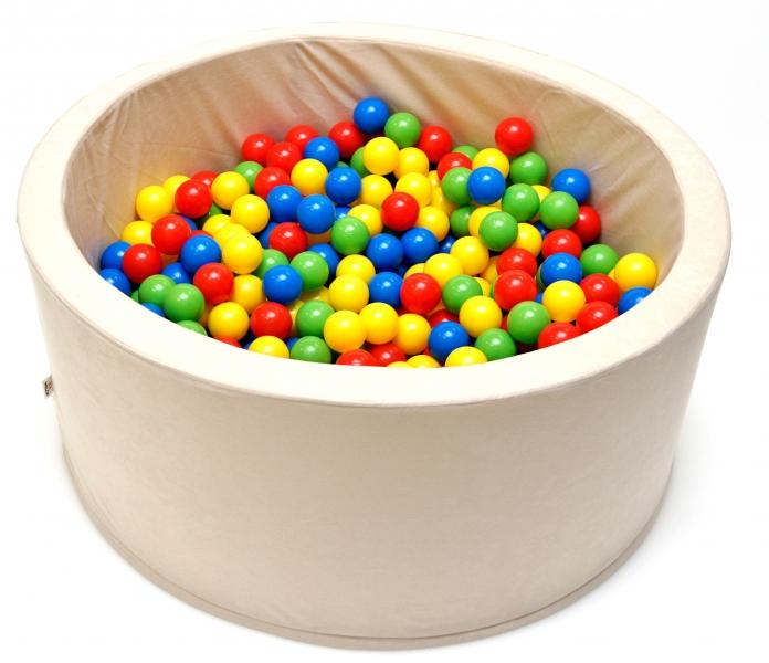 Bazén pro děti 90x40cm kruhový tvar + 200 balónků - béžový
