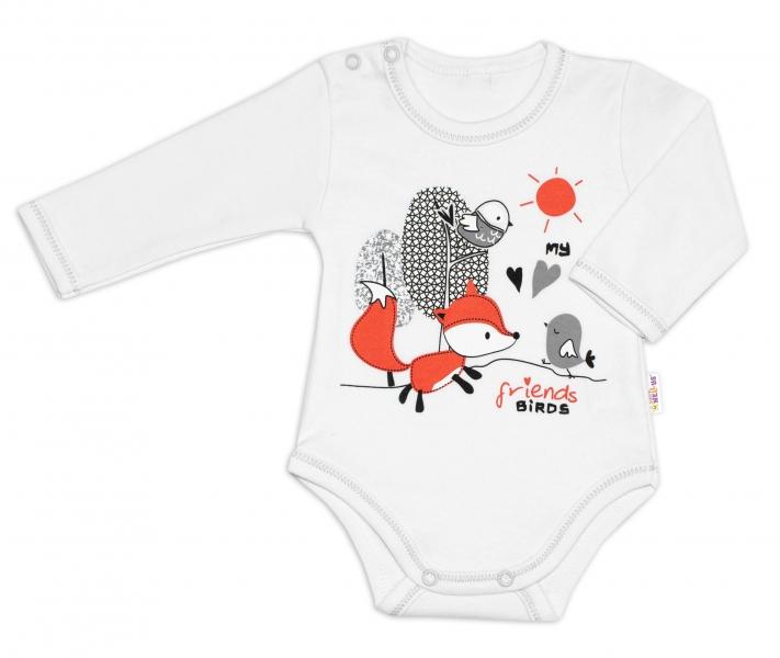 Baby Nellys Bavlněné kojenecké body, dl. rukáv, Fox - bílé, vel.