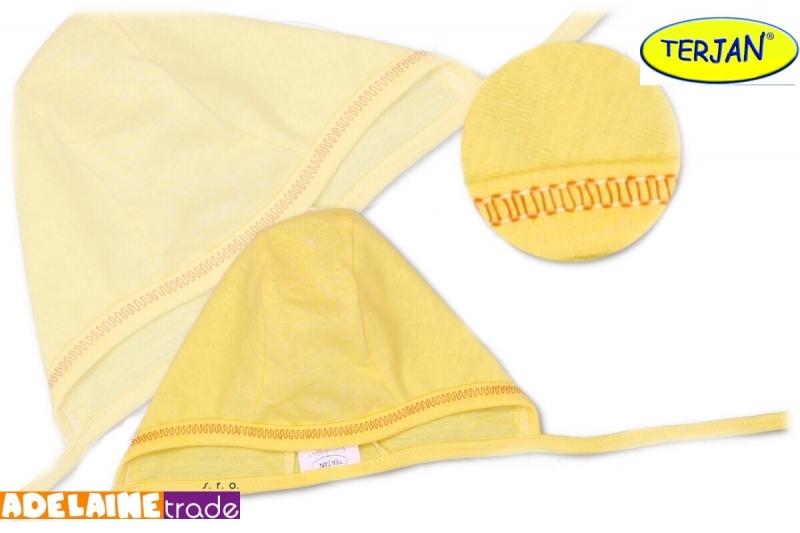Novorozenecká čepička na zavazování - žlutá/krémová