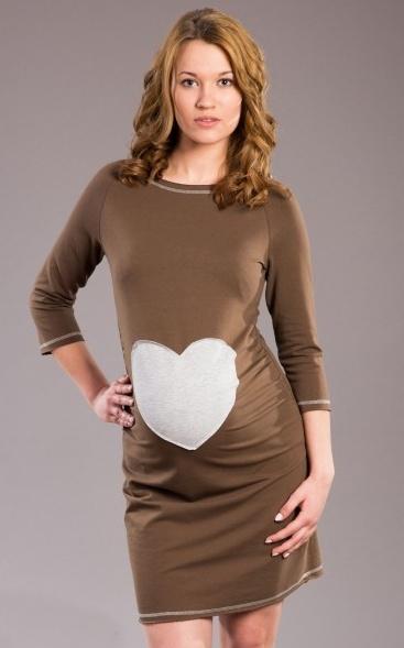 Těhotenské šaty, tunika SRDCE - cappuccino, hnědá