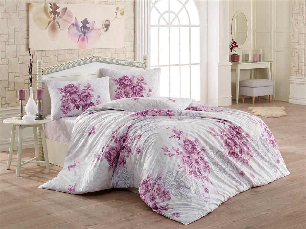 Povlečení francouzské bavlna 240x200,70x90 Melanie lila, Výběr zapínání: