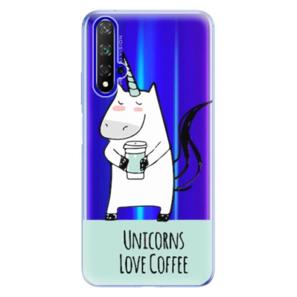 Odolné silikonové pouzdro iSaprio - Unicorns Love Coffee - Huawei Honor 20