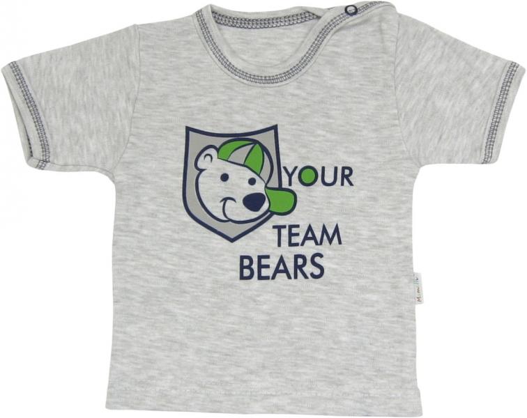 Bavlněné tričko Medvídek proužek - krátký rukáv, roz.