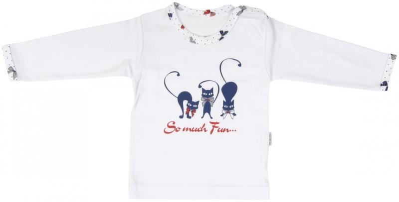 Bavlněné tričko Mamatti Kočička MAŠLIČKA - dlouhý rukáv - 80 (9-12m)
