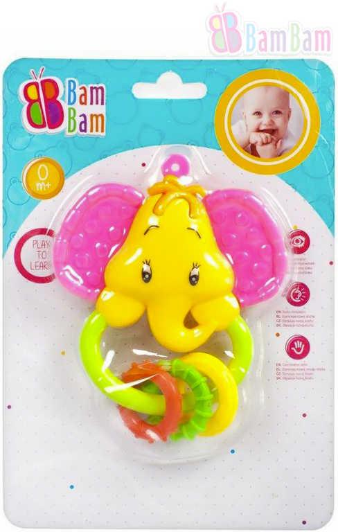 ET BAM BAM Baby chrastítko SLON kousátko pro miminko