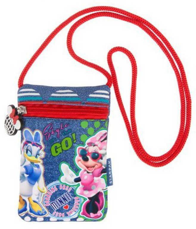 ET Dětská taštička na krk Disney Minnie Mouse s provázkem peněženka na zip