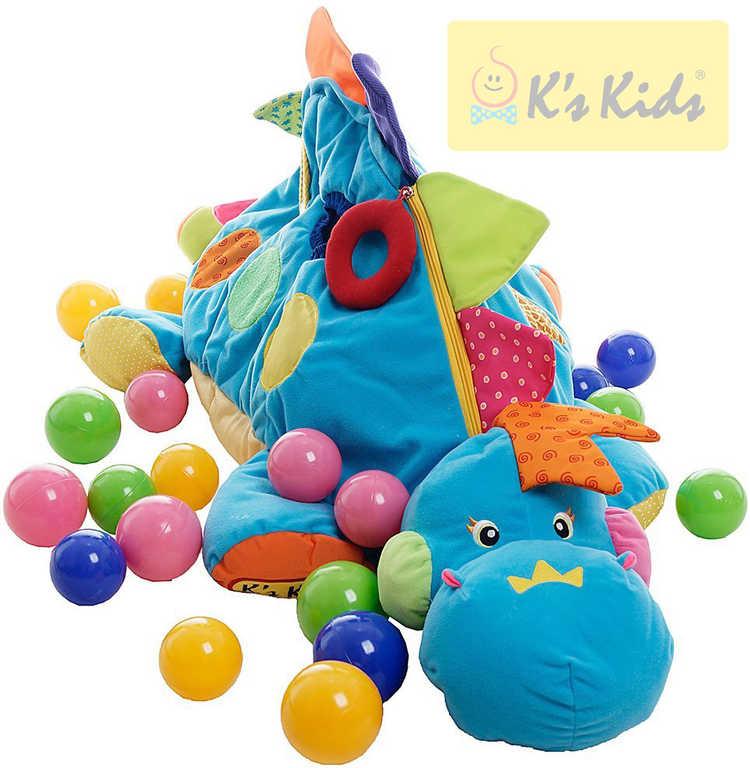 K´S KIDS Dinosarus Boss velký set se 60 míčky baby bazének s chrastítky na zip