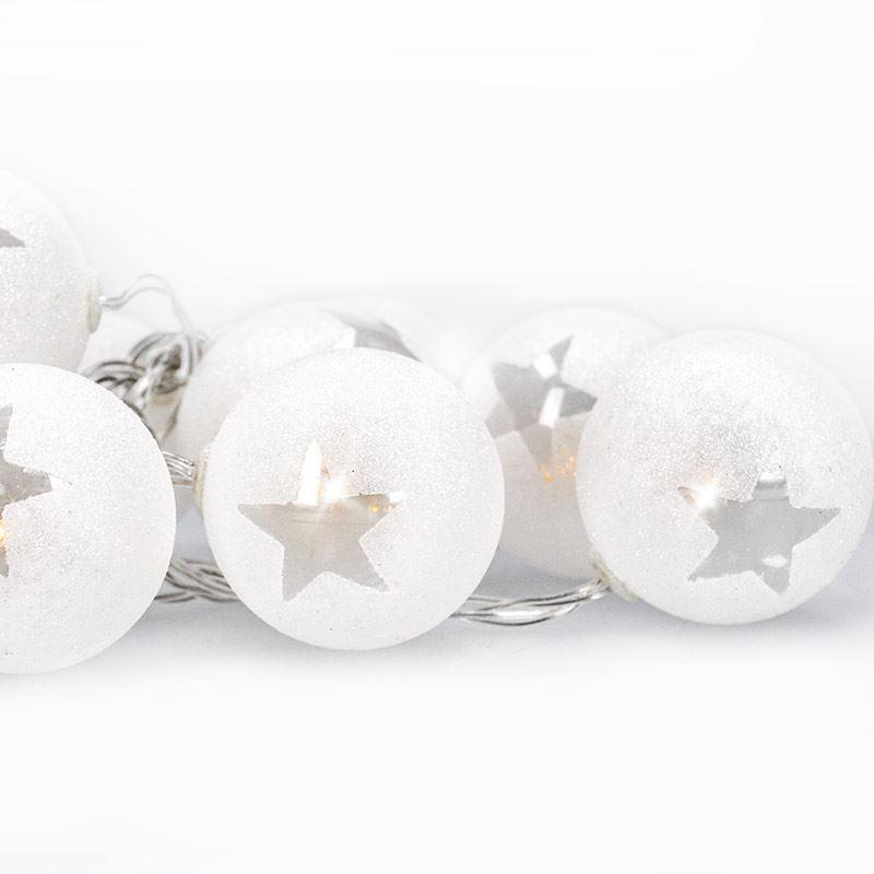 Solight LED řetěz vánoční koule, 10LED, 1m, 2x AA, časovač, IP20