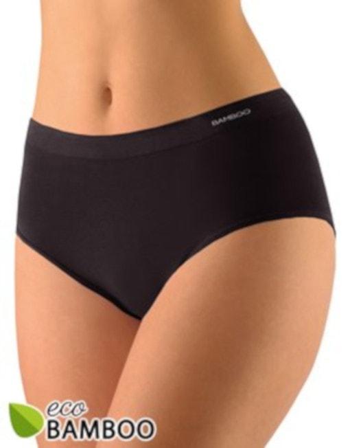 GINA dámské kalhotky klasické ve větších velikostech, bezešvé, jednobarevné Eco Bamboo 01002P - černá