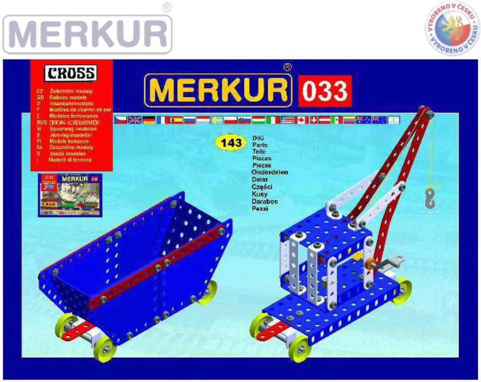 MERKUR 033 Železniční modely vozík + jeřáb 143 dílků KOVOVÁ STAVEBNICE